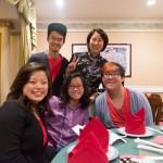 group photo at restaurant